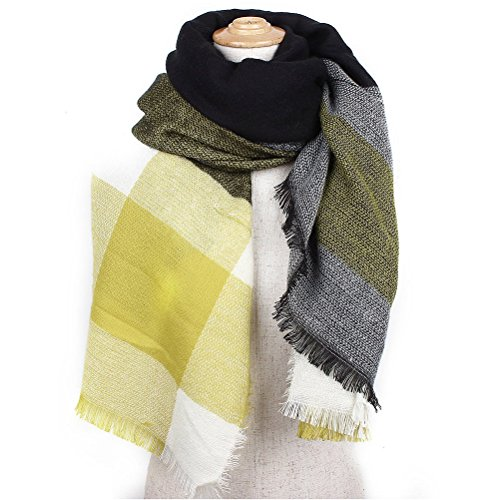 UEETEK Großes Gitter Frauen Winter Schal Warm langer Schal Schal Halstuch (gelb)