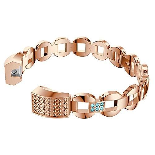 Fitbit Alta Straps, AISPORTS Fitbit Alta HR Edelstahl Strass Band Smart Watch Verstellbares Ersatzarmband mit Metallschnalle Schließe für Fitbit Alta/Fitbit Alta HR Fitness Zubehör