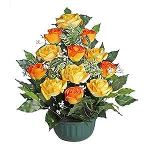 Ligne Déco 481302WO-O - Bouquet di fiori finti in vaso robusto, rose dai petali gommati, 45 cm
