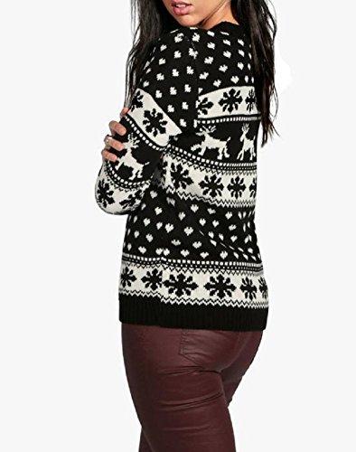 Ladies Reindeers et Snowflake Christmas Jumper EUR Taille 36-44 Noir