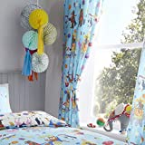 Happy Linen Company Set de Cortinas Infantiles - Estampado de Animales de Circo - Azul/Blanco - 168 x 183 cm