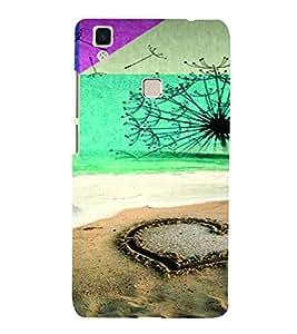 PrintVisa Romantic Love Beach 3D Hard Polycarbonate Designer Back Case Cover for VivoV3