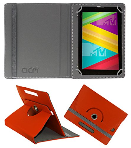Acm Rotating 360° Leather Flip Case for Swipe Mtv Slash 4x Cover Stand Orange  available at amazon for Rs.149
