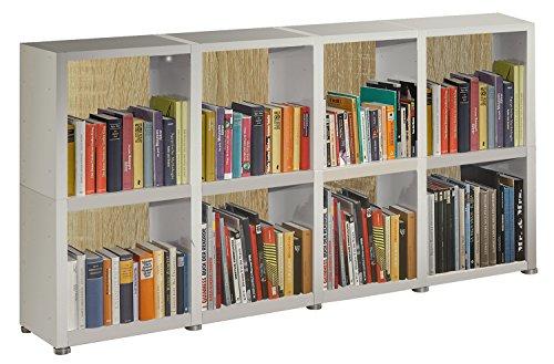 Bücherregal Raumteiler READY 24R in Weiß Seidenmatt mit Rückwand in Sonoma Eiche