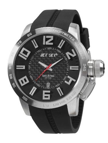 Jet Set - J68303-267 - San Remo - Montre Homme - Quartz Analogique - Cadran Noir - Bracelet Caoutchouc Noir