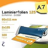 100 Stück DIN A7 Laminierfolientaschen 111 x 80mm, 2x 125 mic, Hochglanz Printation Premium Laminierfolien