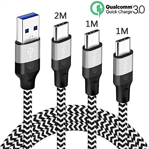 Cavo USB Type-C Carica Rapida 3A Per Samsung Galaxy A70 A80 A50 A40 A20E M20,Xiaomi Redmi Note 7,Mi A1 A2 8 9 SE 9T,Nylon Intrecciato,Cavetto Ricarica Veloce Tipo C 1-1M 2 metri,Fast/Quick Charge 3.0