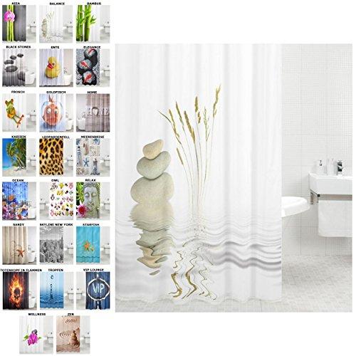 Duschvorhang, viele schöne Duschvorhänge zur Auswahl, hochwertige Qualität, inkl. 12 Ringe, wasserdicht, Anti-Schimmel-Effekt (Balance, 180 x 180 cm)