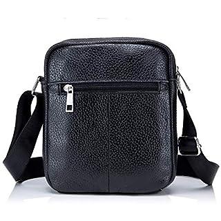 SCSY-Fashion case Men's Shoulder Bag Leather Crossbody Bag Durable Raincoat Single Bag Sports Casual Leather Amass Money Bag (Color : Black, Size : M)