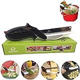 Aliments Ciseaux, Clever alimentaire Chopper Cutter 2 en 1 - Remplacer vos couteaux de cuisine et planches à découper, complément alimentaire pour bébé, ciseaux (A)