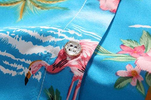 SSLR Damen Blumen Flamingos Freizeit Aloha Hawaii Blusen Blau