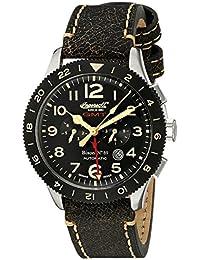 Ingersoll Unisex Automatik Uhr mit schwarzem Zifferblatt Analog-Anzeige und schwarz Lederband in3224bk