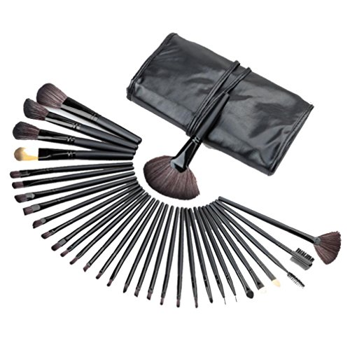 Clode® 32pcs Fondation Mini Maquillage Sourcils Eyeliner Blush Concealer Brushes noir