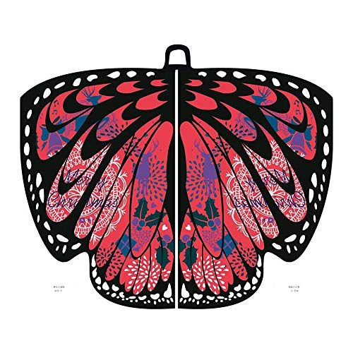 SEWORLD Damen Schmetterling Kostüm Faschingkostüme Schmetterling Schal Erwachsene Poncho Umhang für Party Halloween Weihnachten Kostüm Cosplay Karneval Fasching (A-Wein,168X136CM)