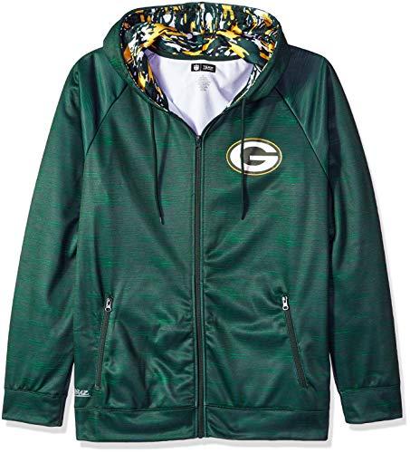 Zubaz NFL Male Kapuzenpullover mit durchgehendem Reißverschluss, Camouflagemuster, Herren, NFL Full Zip Camo Space Dye Hoodie, grün, X-Large