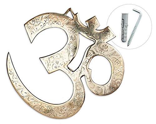 Wanddeko Om Symbol aus Messing gold, 17 cm, Wanddekoration Wandsymbol Kraftsymbol Deko Aum Sanskrit