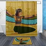 JSTEL Antike Ägyptische hieroglyph-Badezimmer-Set maschinenwaschbar, für den täglichen Gebrauch, wasserdicht, Duschvorhang, 12Haken, Anti-Rutsch-Teppich, 60x 90cm