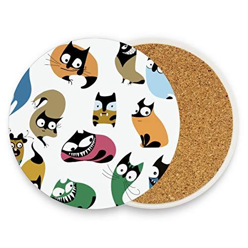 Lustige Cartoon-Katzen-Untersetzer, rund, saugfähig, Keramik, Steine, Kaffeetassen, Matten-Set für Zuhause, Büro, Bar, Küche (Set von 1 Stück), keramik, multi, 4er-Set
