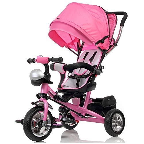 BAKAJI Triciclo Passeggino per Bambini a Pedali e Spinta 3in1 con Sediolino Girevole a 360 Gradi Imbottito Cinture di Sicurezza Manico Direzionabile e Tettuccio Cappottina Parasole (Rosa)