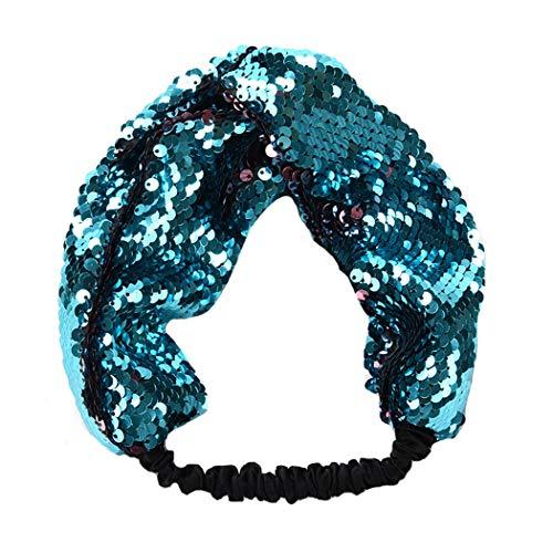 Dressfan elastico paillettes reversibili fascia capelli donna ragazza lustrino fascia paillettes fascia fascia in paillettes per sport di yoga quotidiano