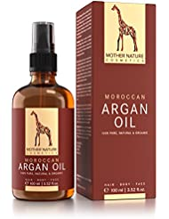 Arganöl - BIO - Mother Nature® - 100 ml | hochdosiert, kaltgepresst und nicht parfümiert | Anti-Aging Argan Öl für Haut, Gesicht, Haare und Nägel
