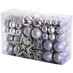 e6f60f26fec Yorbay Bolas de Navidad Incluyendo la Cadena de perlasy la Estrella del  árbol (Plata)