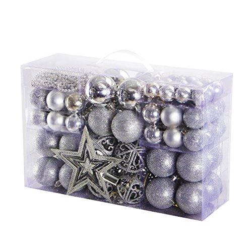 Yorbay Weihnachtskugeln Christbaumkugeln Set Inklusive Perlenkette und Baumspitze (Silber)