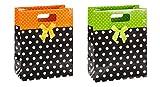 TSI - Confezione di 12 sacchetti da regalo, motivo a pois con fiocco, 23 x 18 x 10 cm, 2 varianti
