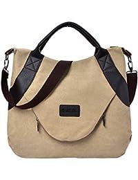 Modaworld Retro Frauen Canvas Reißverschluss Umhängetaschen mit Corssbody Handtasche Damen Schultertasche Retro Messenger Tasche Mädchen Bucket Bag Shopper Shoulder Bag