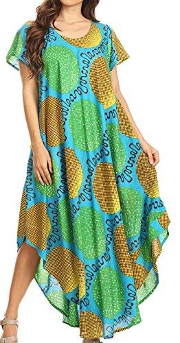 Sakkas 17174 - Merve Damen Maxi Kurzarm Kleid High Low auf Ankara Print mit Taschen - Turq-Grün - OS (20w Kleid)