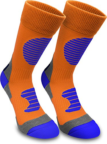 3 Paar Multifunktionale Sportsocken mit Schienbein- & Fußrückenpolster - bestens geeignet als Skating- Inliner- Motorrad- & Trekkingsocken Farbe Orange/Blau Größe 39/42