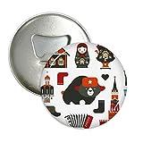DIYthinker orso doll fisarmonica vodka russia rotonda apribottiglie magnete del frigorifero pins distintivo 3pcs pulsante regalo Argento