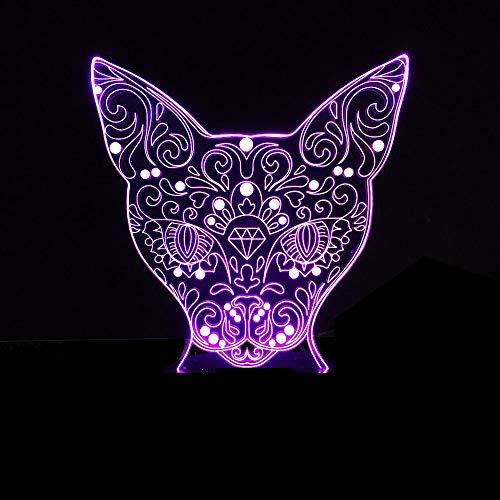 Leopard Leopard Gesicht 3D Licht Katze Kopf LED Nachttischlampe Bunte Tischlampe Acryl LED Licht Visuelles Licht
