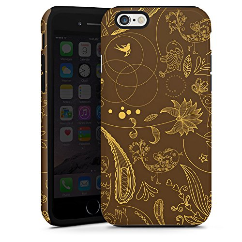 Apple iPhone 4 Housse Étui Silicone Coque Protection Motif Paisley Vert marron Ornements Cas Tough terne