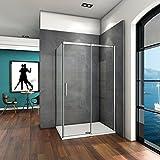 120x195 Dusche Duschabtrennung Duschkabine 6mm Klarglas ohne Duschtasse mit Seitewand 90cm