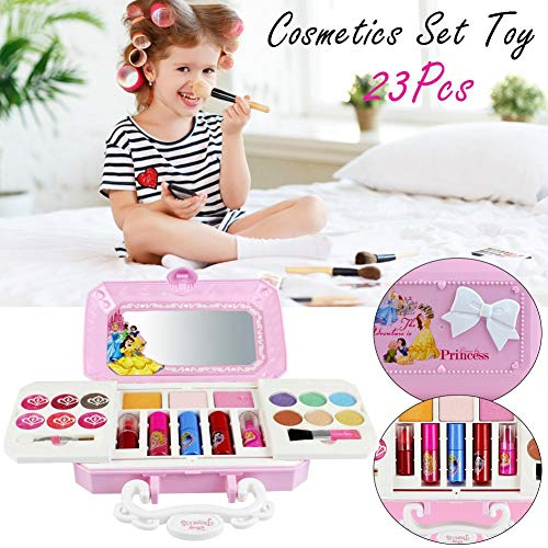 Kinder Make-up Set 23pcs Disney Waschbar Kosmetik Box Spielzeug Make-up Beauty Kits Spielzeug, SICHERHEIT und NICHT TOXISCH, mit Lidschatten, Lipgloss, Pinsel, Rouge, für kleine Mädchen Princess Dream
