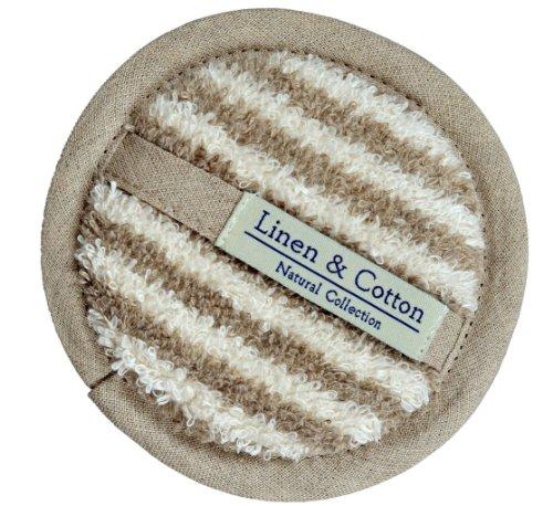 L'éponge en Lin Pour Le Corps et Visage ARIA, 60% Lin, 40% Coton - Rayé (12cm)