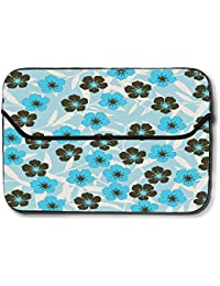 32cf5239f067 Snoogg Floral Blue Pattern 10 Inch Easy Access Padded Laptop Case Cover  Flip Sleeve Bag