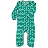 Smafolk Jungen Bodysuit Strampler Schlafanzug mit Äpfel Grün Bio-Baumwolle Öko-Tex Standard (80)