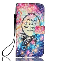 iGrelem® Galaxy S7 Edge Leather Case, Wallet Cover for Samsung Galaxy S 7 Edge (Feather, Multicolor)