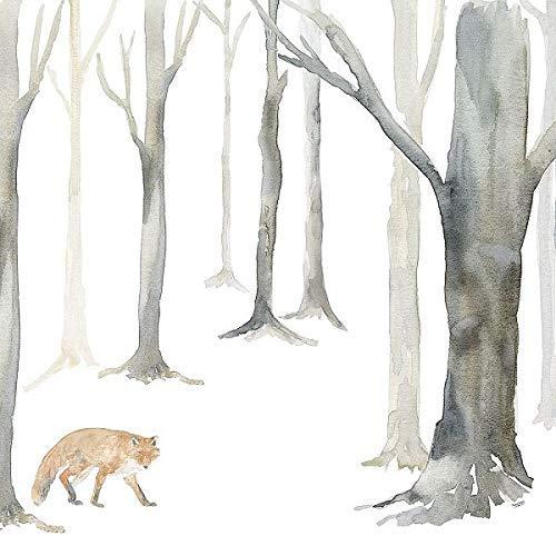 Rahmen-Kunst Keilrahmen-Bild - Tara Reed: Winter Forest Fox Leinwandbild Fuchs Wald Wild-Tiere grau modern - Winter Reed