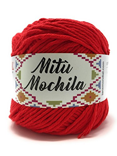Mondial filato mitù mochila gomitolo 100gr uncinetto 3,5-4 100% cotone (027 rosso)