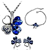 Swarovski Elements Blue Crystal Four Leaf Clover Love Heart Jewellery Set Earring Bracelet And Pendant Necklace '16 - 18 inch Chain