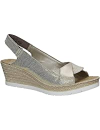 Rieker 61972-90 Damen Sandalen mit Keilabsatz   Sommerschuhe Leder  Klettverschluss 8aa641612c