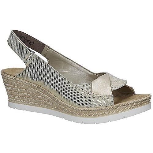 Rieker 61972-90 Damen Sandalen mit Keilabsatz | Sommerschuhe Leder Klettverschluss | Gold | EUR 37