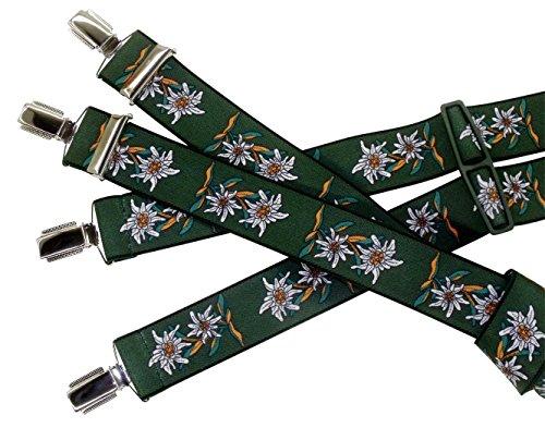 Tracht-Edelweiß-Hosenträger für Herren, Grün