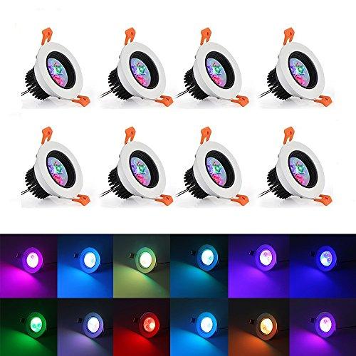 LED Einbaustrahler schwenkbar inkl 8x6W RGB Deckenstrahler Deckenspots Deckenleuchte 3 Zoll vertiefte Beleuchtung Wireless Remote Control Deckenleuchte mit LED-Treiber