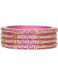 Dulari Square Stone Embellished Curvy Designe Lac Round Ethnic Bangles For Women (Set Of 2 Bangles)Color Available