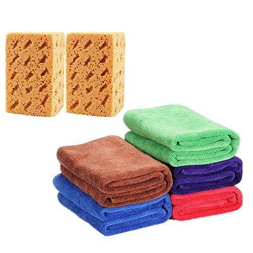 Mikrofaser Reinigungstücher, super dicke extrem saugfähig Autopflege Mikrofasertücher zum Waschen, Putzen, Polieren und Trocknen von Fahrzeugen (30 x 70 cm, 5er Packung mit 2er Autoschwamm)