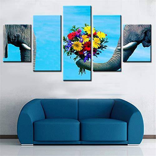 WSNDG Mariposa Europea de Cinco lienzos, Alces, Lienzo de Elefante sin Marco C2 30x50cmx2 30x70cmx2 30x90cmx1